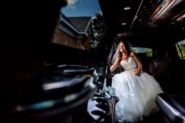 Bride in Limo at Marco's Restaurants & Events